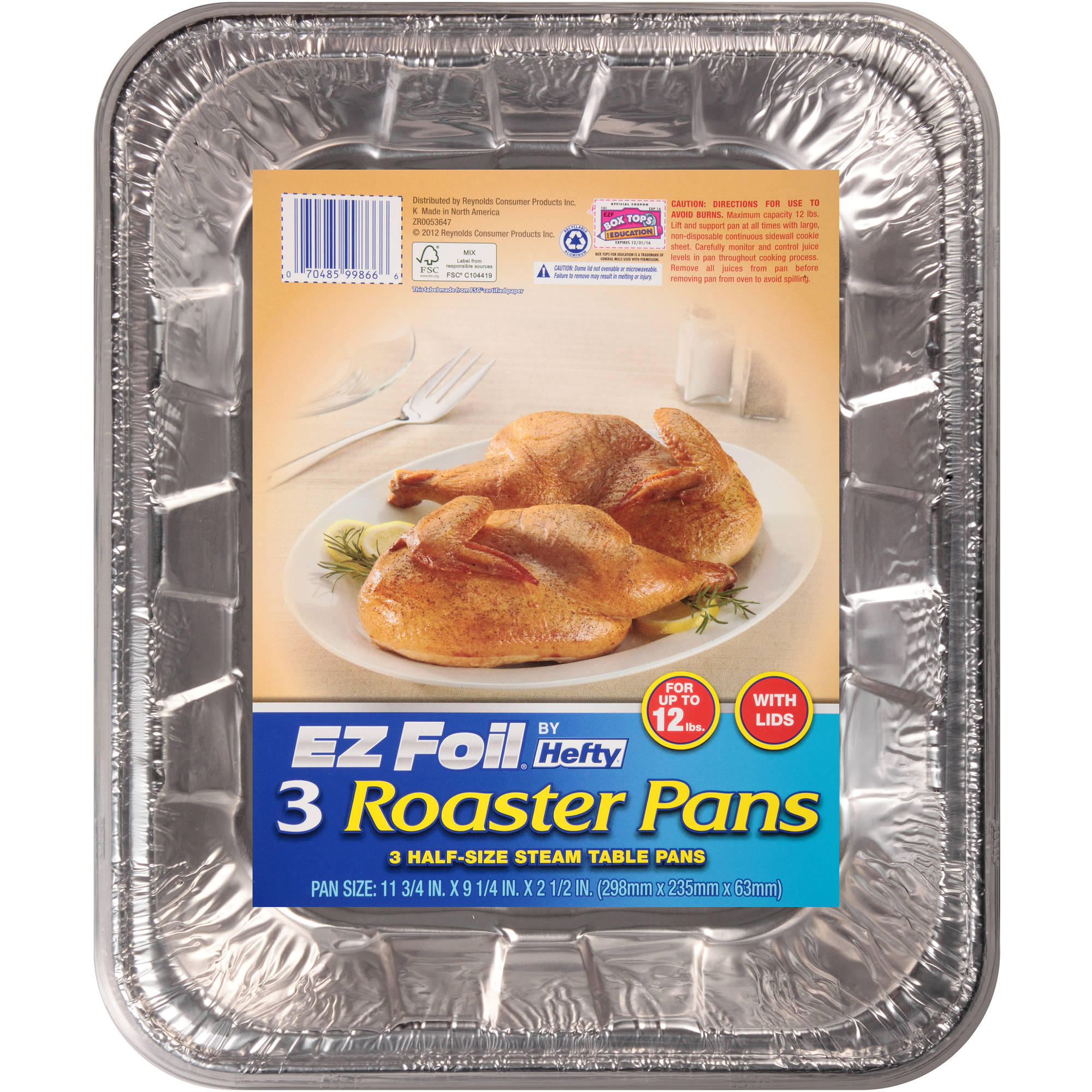 Hefty EZ Foil Roaster Pans With Covers, 3ct
