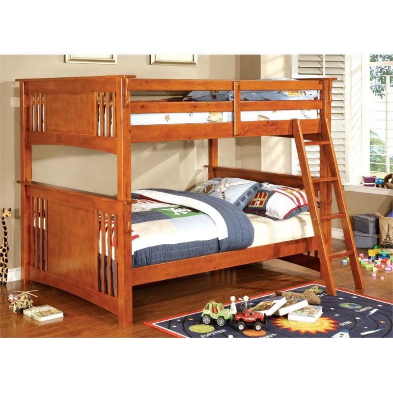 Furniture of America Roderick Full over Full Bunk Bed in Oak