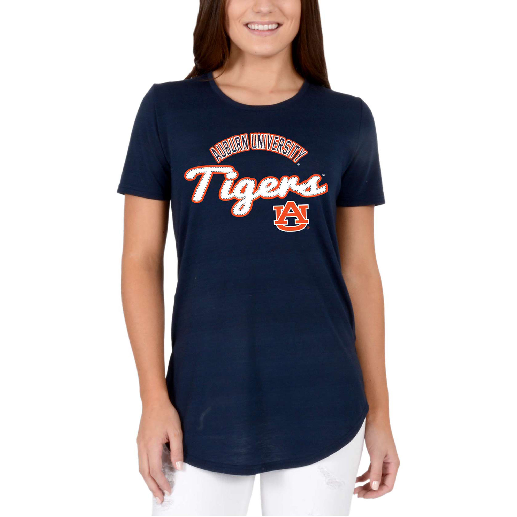 Women's Navy Auburn Tigers Faux Stitch V-Neck T-Shirt