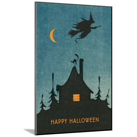 Happy Halloween, Witch Flying over House Wood Mounted Print Wall Art (Wood Witchs)
