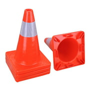 """18"""" Height PVC Safety Traffic Cones Plastic w/ Reflective Strips Collar Set of 4pcs Red"""