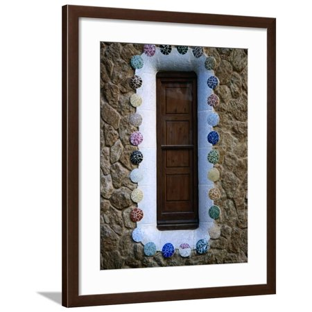Detail of a Shuttered Window of the Whimsically Designed House by Antoni Gaudi Framed Print Wall Art By Martin Hughes