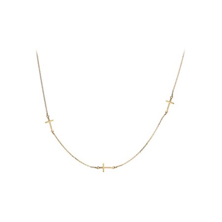 Yellow Gold Vermeil Sideways Cross Stationed Necklace - image 1 of 2