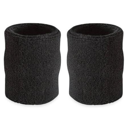 White Sweatbands (Suddora 4' Inch Sport Arm Sweatbands - Athletic Cotton Armbands Pair )