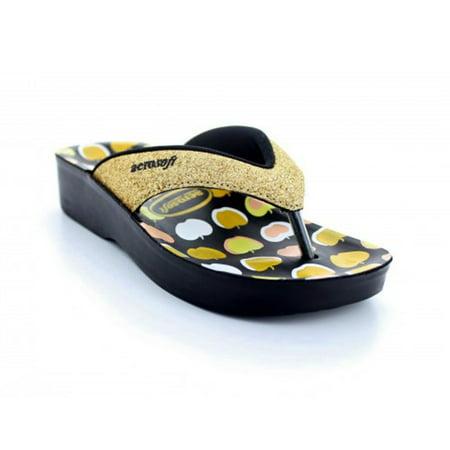 Apple Sandals (Girls Aerosoft APPLE FEET Flip-Flop Sandals With Aerothotic Insoles - Gold Sparkle )