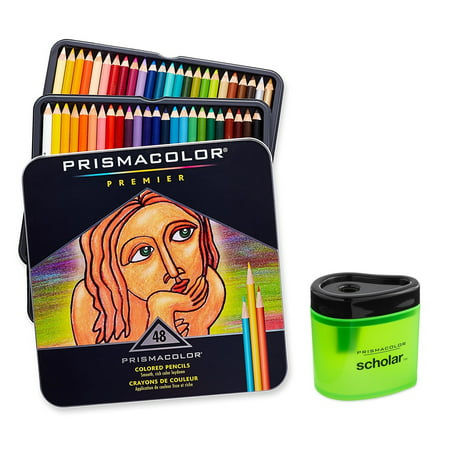Prismacolor Premier Soft Core Colored Pencil, Set of 48 Assorted Colors + Prismacolor Scholar Colored Pencil Sharpener