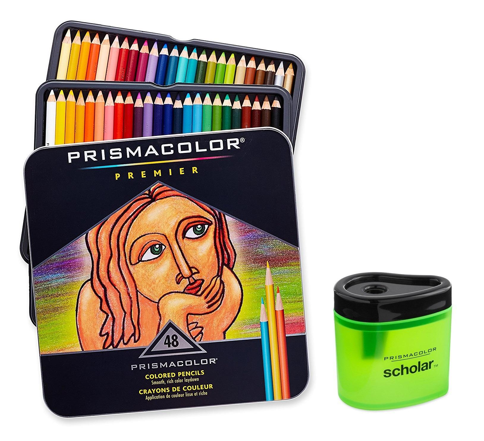 Prismacolor Premier Soft Core Colored Pencil, Set of 48 Assorted Colors + Prismacolor Scholar Colored Pencil Sharpener