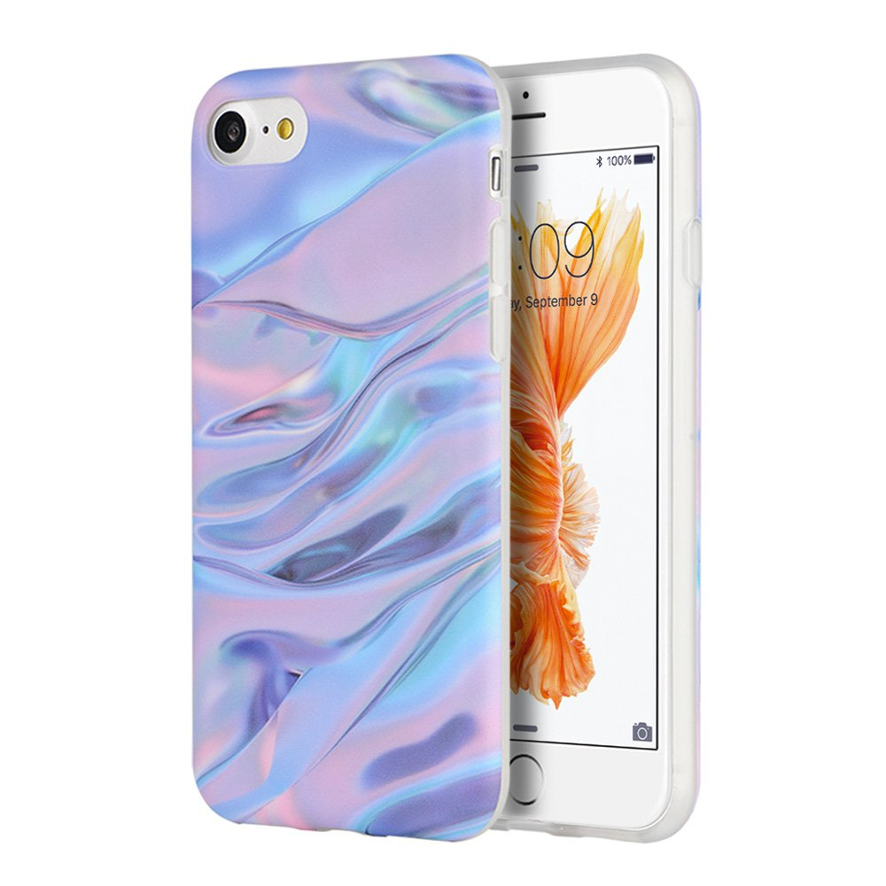 iPhone 7 Case Marble IMD Slim Fit Anti Scratch Shock Proof Anti Finger Print Flexible Soft TPU Protective Case - Purple/ Pink