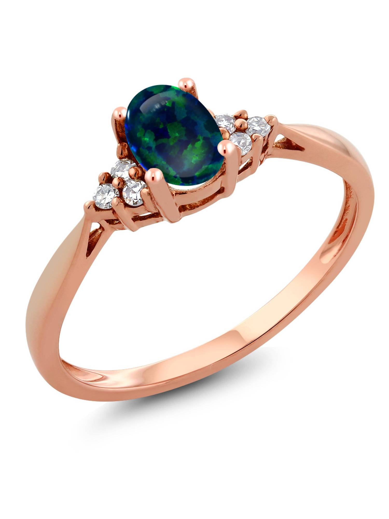 0.50 Ct Oval Cabochon Green Simulated Opal and Diamond 14K Rose Gold Ring by