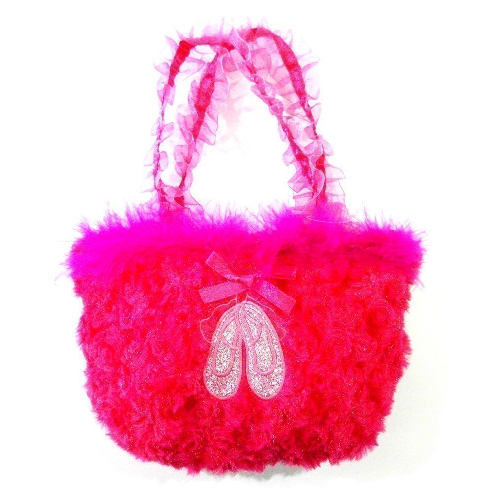 Girls Hot Pink Ruffle Straps Faux Fur Ballet Shoes Velvet Purse