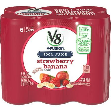 (24 Bottles) V8 Strawberry Banana, 8 fl oz