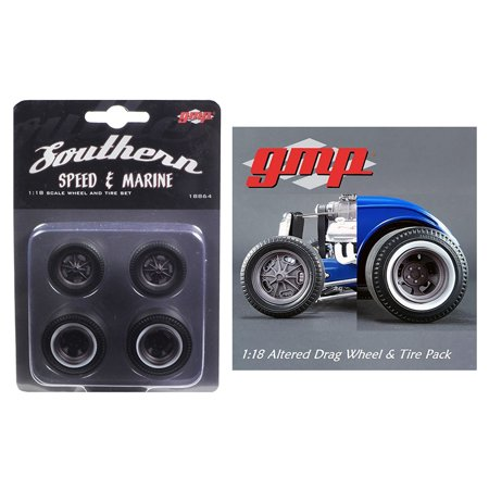 Drag Wheels and Tires Set of 4 Magnesium Finish from 1934 Altered Drag Coupe 1/18 by (Drag Coupe)
