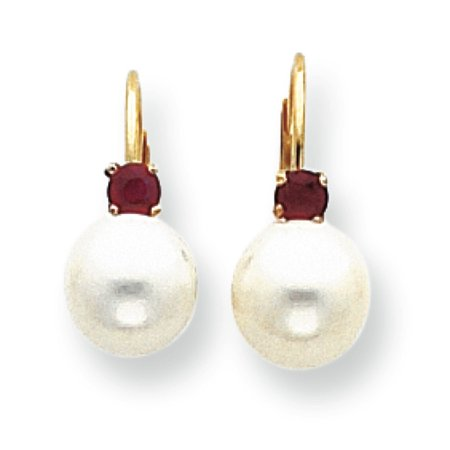 - 14k Gold 7-7.5mm White Fresh Water Cultured Pearl and .13ct. Ruby Leverback Earrings