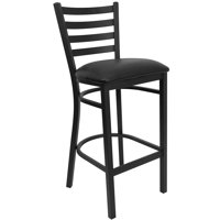 "Metal Ladder Back Bar Stool 31"", Black"