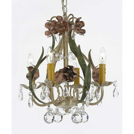 - Floral Wrought Iron and Crystal 4 Light Chandelier Pendant Lighting with Faceted Crystal Balls