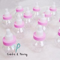 """Craft and Party 3"""" Mini Plastic Milk Bottle Fillable Baby Shower Favor Decoration (Pink)"""