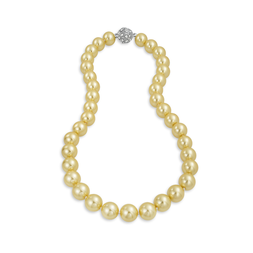 Bling Jewelry Champagne Simulated Pearl Necklace Crystal Rhodium Plated