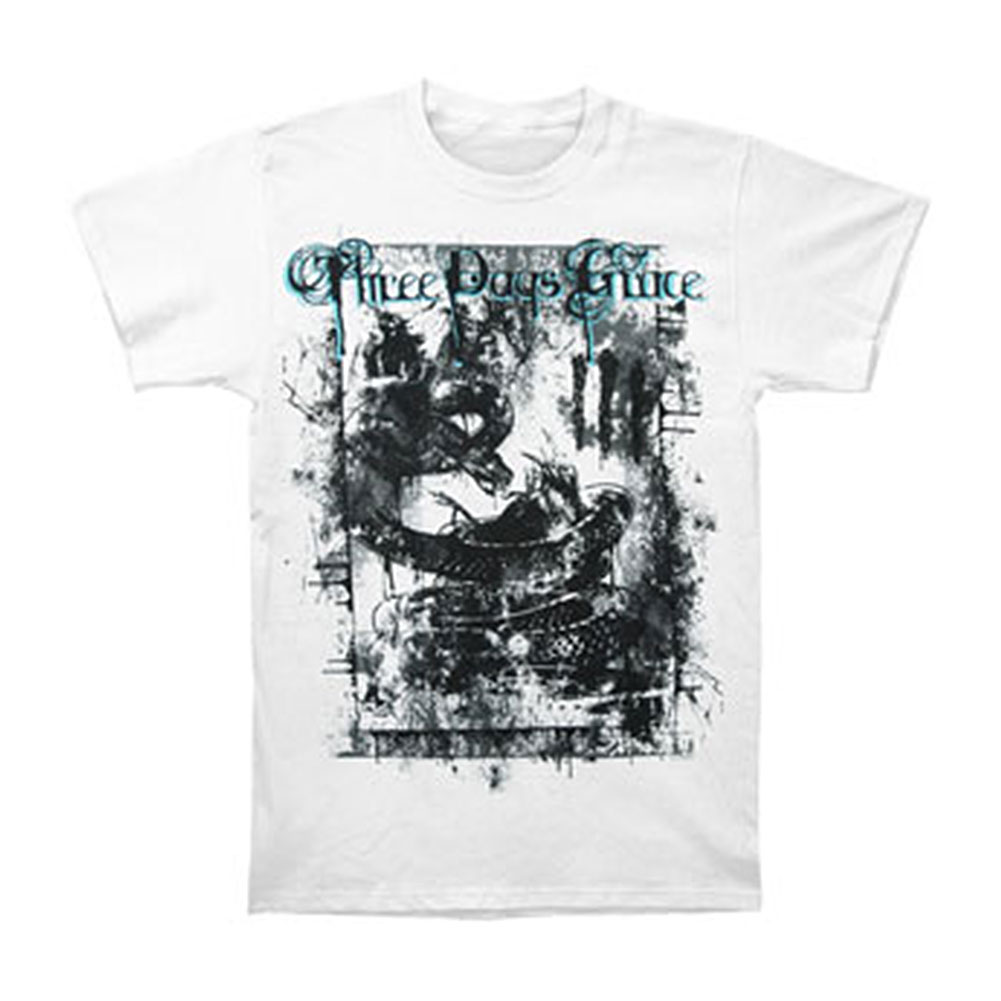 Three Days Grace Men's  Destroyed T-shirt White