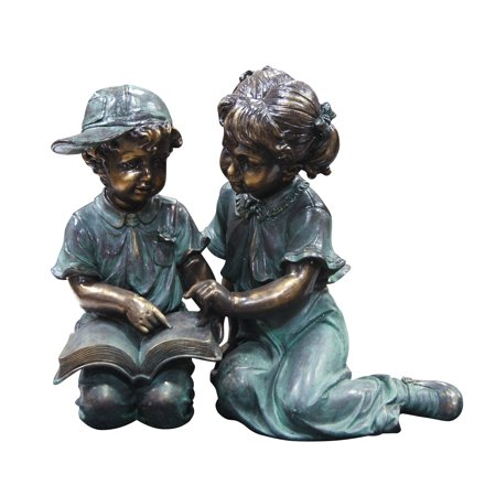 Alpine Corporation Girl and Boy Reading Statue Set, Includes 2 Statues ()