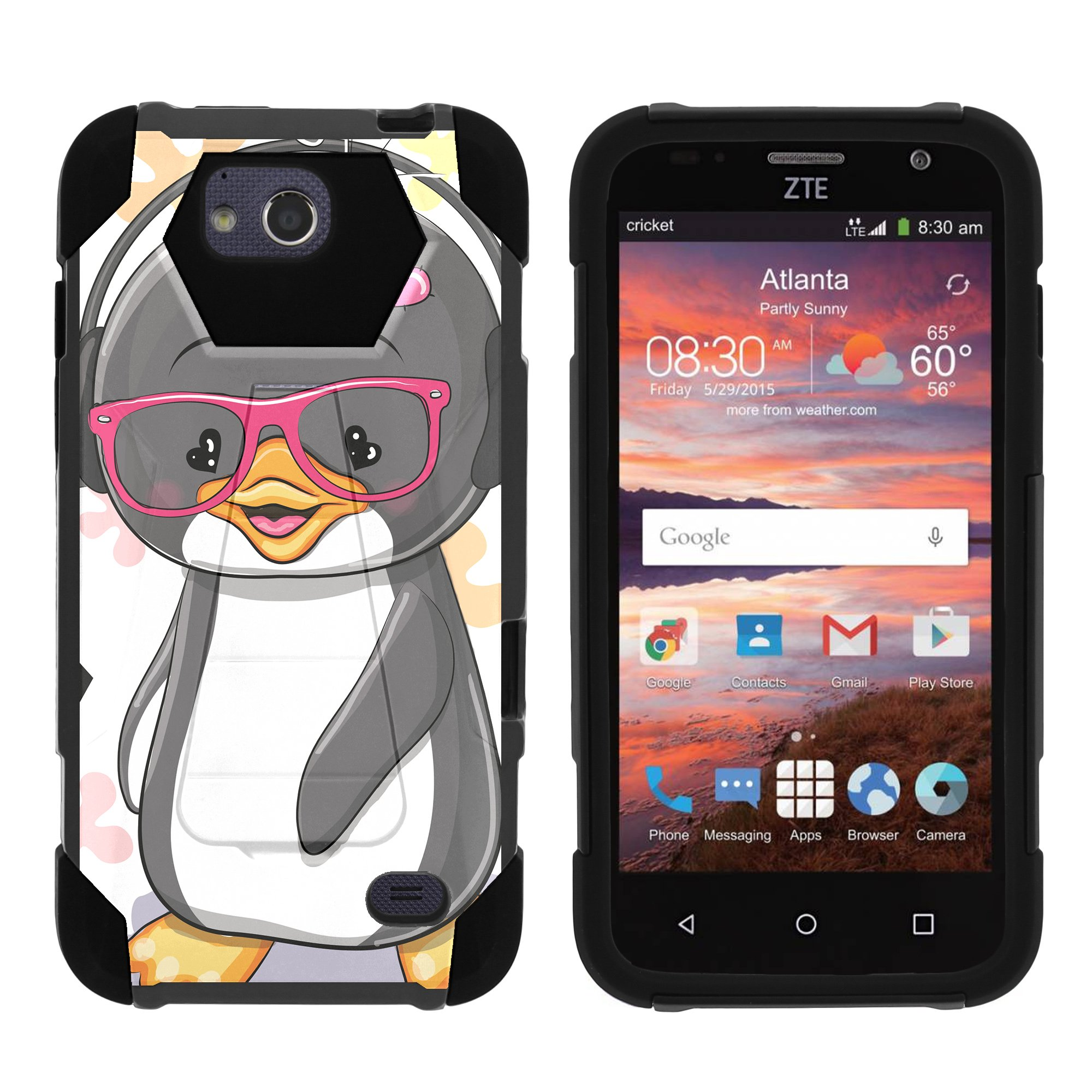 TurtleArmor ® | For ZTE Overture 2 | Atrium | Scend | Maven | Fanfare [Dynamic Shell] Dual Layer Hybrid Silicone Hard Shell Kickstand Case - Cute Penguin
