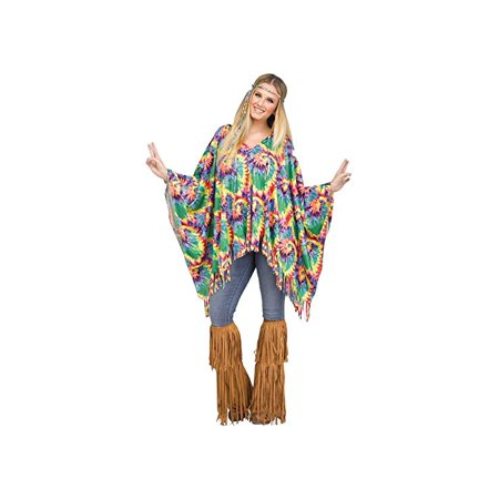 Fun World Tie-Dye Hippie Poncho for Halloween, School Acting, Costume Party, for Women Adult Size