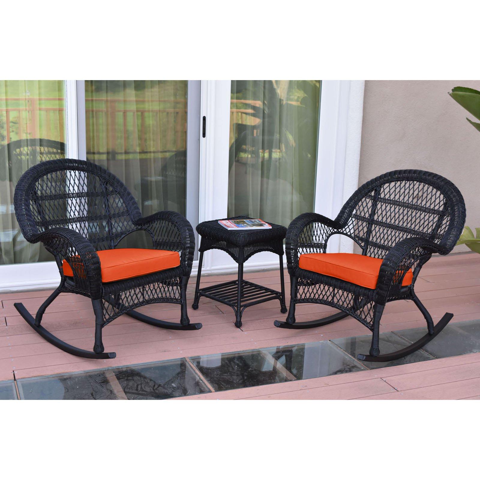 Jeco Santa Maria 3 Piece Wicker Rocker Chat Set with Optional Cushion