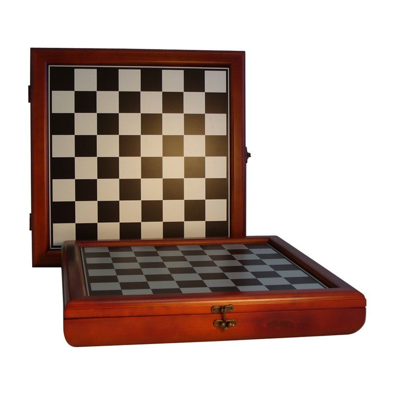 WorldWise Cherry Stained Chess Board and Storage