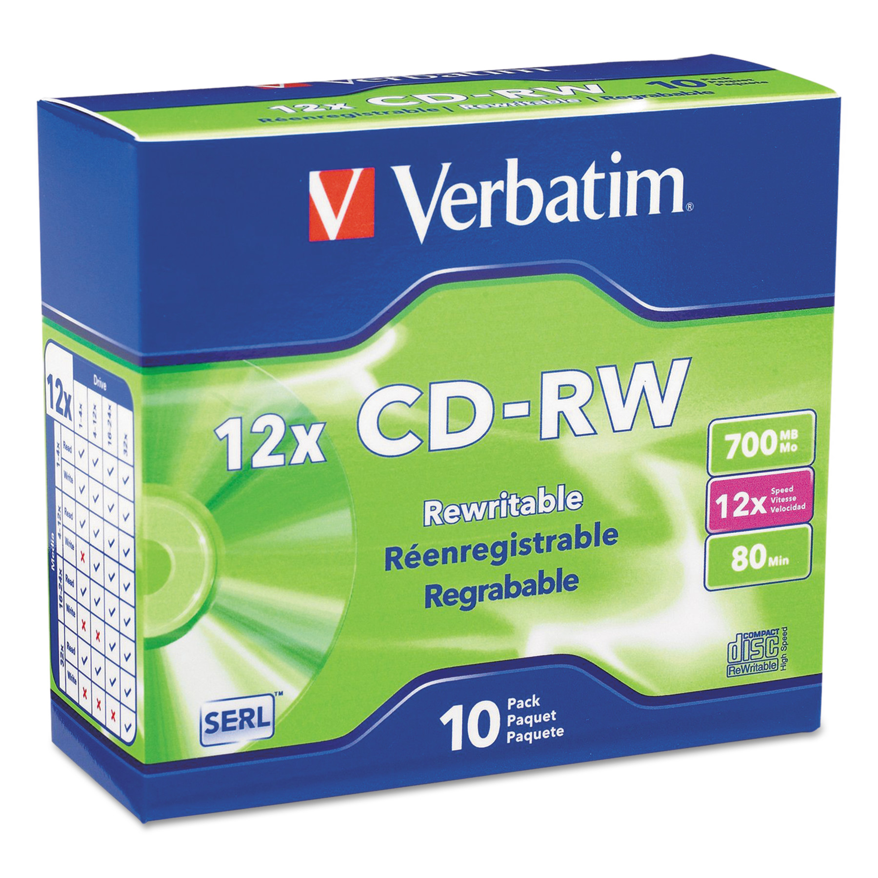 Verbatim CD-RW, 700MB, 4X-12X High Speed, Branded Surface, 10/PK Slim Case