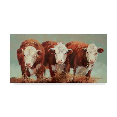 Trademark Fine Art 'Three of a Kind Cows' Canvas Art by Carolyne Hawley ()