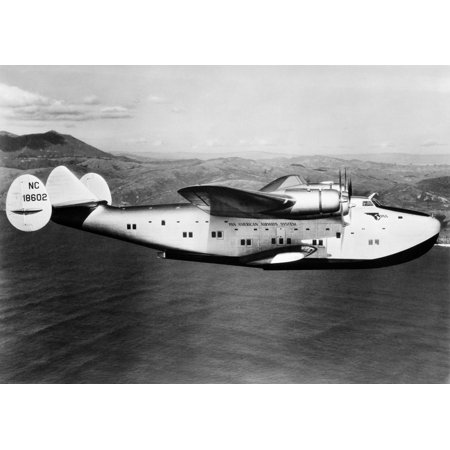 1930s-1940s Pan American Clipper Flying Boat Airplane In Flight Stretched Canvas - Vintage Images (Pan American Flying Boats)