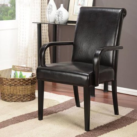K And B Furniture Co Inc K Espresso Faux Leather Wood Frame Parson Arm Chairs  Set Of 2