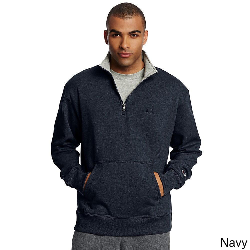 Champion Mens Powerblend Fleece 14 Zip Pullover_Granite