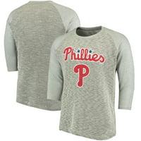 Philadelphia Phillies Majestic Threads Tri-Yarn French Terry 3/4-Sleeve Raglan T-Shirt - Gray