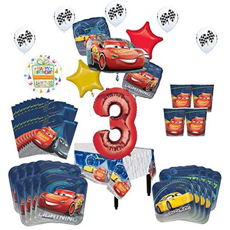 Disney Cars 3rd Birthday Party Supplies 16 Guest Kit and Balloon Bouquet Decorations 94 pc (Disney Wedding Decorations)