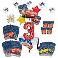 Disney Cars 3rd Birthday Party Supplies 16 Guest Kit and Balloon Bouquet Decorations 94 pc