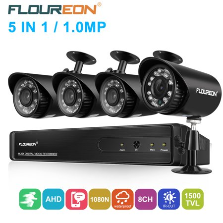FLOUREON House Camera 8CH 1080N AHD CCTV DVR House Security System 5 IN 1 TVI + 4 X 1500TVL 720P HD Dome Indoor/Outdoor Camera Surveillance Security for