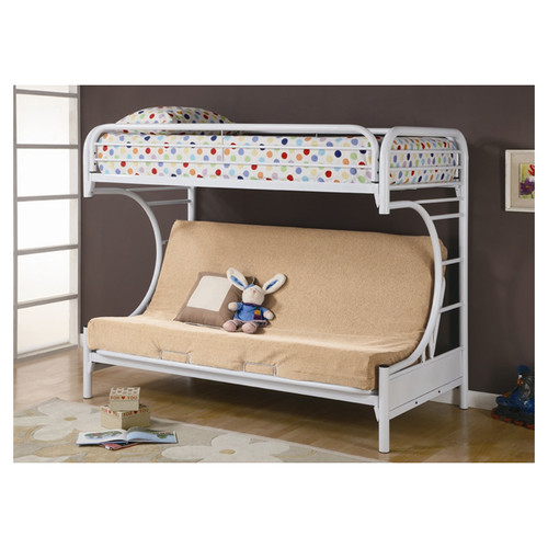 Coaster C-Style Twin Over Futon Metal Bunk Bed, White