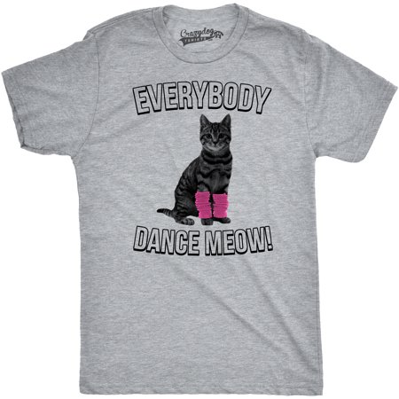 Mens Everybody Dance Meow T Shirt Cute Funny Cat Kitten Tee For Guys (Cute Cat Halloween Memes)