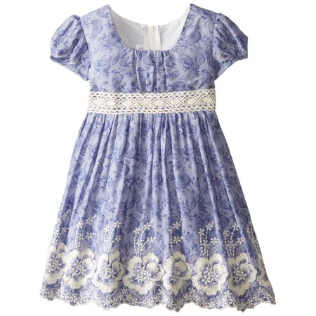 Bonnie Jean Little Girls Embroidered Chambray Emma Dress 4T