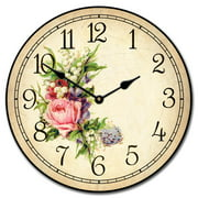 Country Floral Wall Clock, Available in 8 sizes, Most Sizes Ship 2 - 3 days, Whisper Quiet Non Ticking Silent