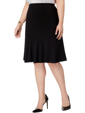 Nine West Womens Plus Stretch Knee-Length Flare Skirt