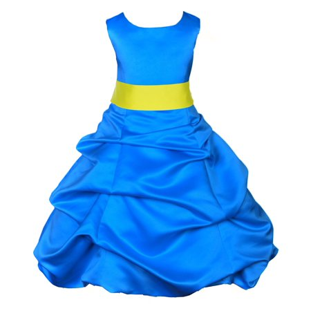 Go Girl Dresses (Ekidsbridal Royal Blue Satin Bubble Pickup Christmas Party Bridesmaid Recital Easter Holiday Wedding Pageant Communion Princess Birthday Clothing Baptism 806 Flower Girl)