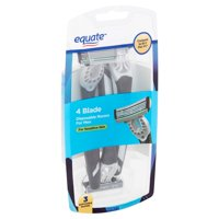 Equate 4 Blade Disposable Razors for Men, 3 count