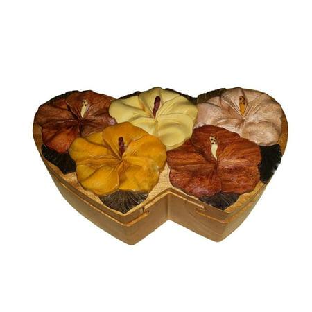 Wood Keepsake Jewelry Puzzle Box Double Heart Hibiscus Bouquet (Bouquet Heart Box)