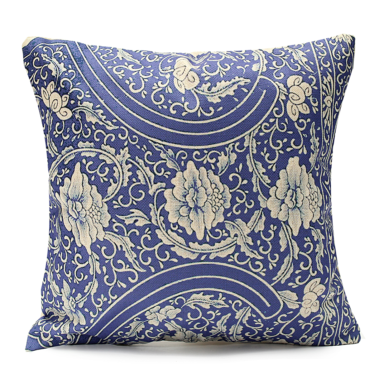 Click here to buy 45x45cm Vintage Oriental Blue Floral Cotton Linen Pillow Case Cushion.