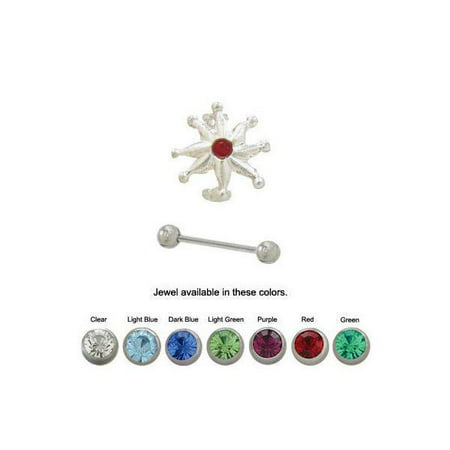 Sterling Silver 16G Eyebrow Shield with Jewel Design - 7 Colors Available Silver Design Shield
