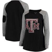 Texas A&M Aggies Women's Plus Size Preppy Elbow Patch Slub Long Sleeve T-Shirt - Black/Charcoal