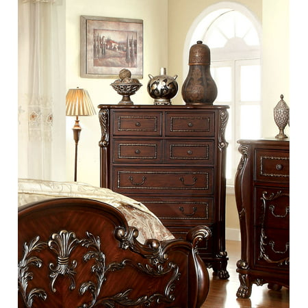Furniture of America Georgina Traditional Bedroom Chest, Cherry