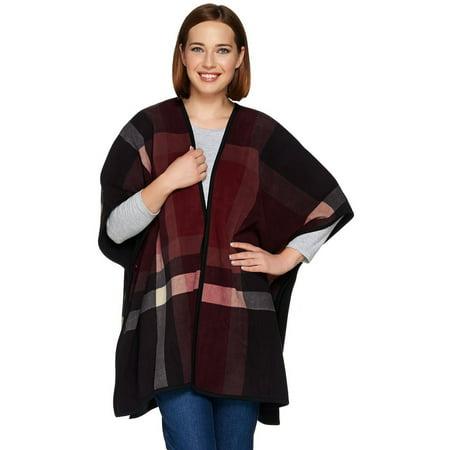 Denim & Co Plaid Reversible Open Fleece Poncho (Denim Poncho)