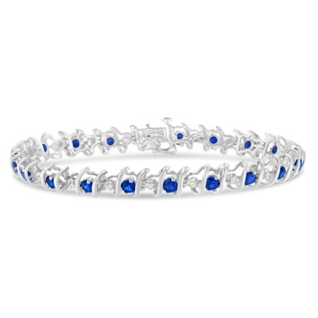 Sterling Silver Blue Sapphire and Diamond S-Link Tennis Bracelet (H-I, I1-I2) Colored Sapphire Diamond Bracelet